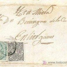 Sellos: CARTA CIRCULADA A LIÉRGANES, SANTANDER 1874, CON SELLOS EDIFIL 133 Y 141, SOBRE CONTRATA DE OBRAS. Lote 26456401