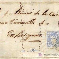 Sellos: CARTA CIRCULADA A LIÉRGANES, SANTANDER EN 1871, CON SELLO EDIFIL Nº 107 SOBRE CONTRATAS DE OBRAS. Lote 26456402