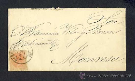 SOBRE CIRCULADO DE BARCELONA A MANRESA EN 1883 (Sellos - Historia Postal - Sello Español - Sobres Circulados)