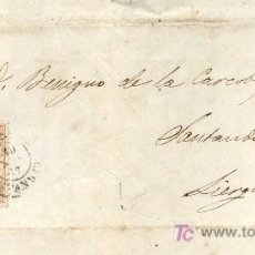 Sellos: CARTA CIRCULADA REINOSA A LIÉRGANES, SANTANDER EN 1867. CON EDIFIL Nº 96 SOBRE CONTRATA DE OBRAS. Lote 26456405