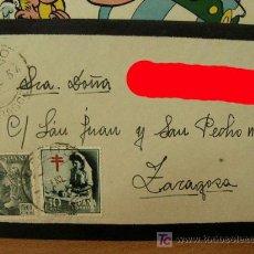 Sellos: + UTEBO, ZARAGOZA, SOBRE CON MATASELLOS, AÑO 1954, COLOR ROJO SOLO EN FOTO.. Lote 12805701