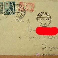Sellos: + BADAJOZ, SOBRE CON MATASELLOS, AÑO 1954, COLOR ROJO SOLO EN FOTO.. Lote 12805727