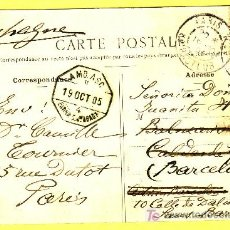 Sellos: TARJETA POSTAL ILUSTRADA DE PARÍS, DIRIGIDA A CALDAS DE MONTBUY FRANQUEO FRANCÉS.. Lote 14730029