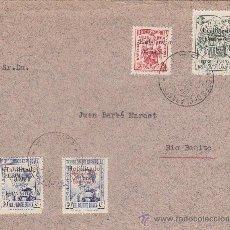 Sellos: GUINEA ESPAÑOLA: CARTA CIRCULADA POR VALORES DECLARADOS 1939 CON SELLOS HABILITADOS Y LOCALES. RARA.. Lote 23184838