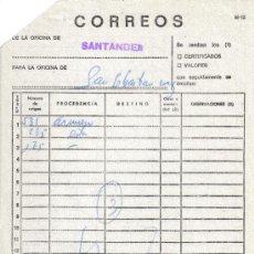 Sellos: DOCUMENTO INTERNO DE CORREOS CON MAT CERTIFICADO SANTANDER CANTABRIA. Lote 13355128