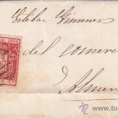 Sellos: ESCUDO DE ESPAÑA 1854 (EDIFIL 24) CON MATASELLOS PARRILLA NEGRA EN CARTA (ENVUELTA) DESTINO ALMERIA.. Lote 13434290