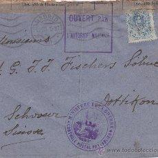Sellos: CARTA CIRCULADA 1915 DE MADRID A SUIZA. BANDA DE CENSURA Y MARCAS MINISTERIO DE LA GUERRA Y ABIERTA. Lote 25779069