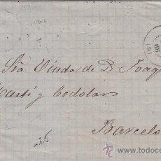 Sellos: MATASELLOS RUEDA DE CARRETA EN CARTA CIRCULADA 19/5/1868 DE ALICANTE A BARCELONA. LLEGADA AL DORSO.. Lote 13534754