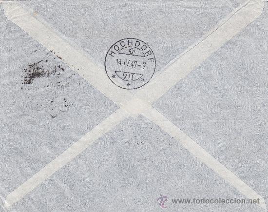 Sellos: CARDONA & SALAU SL CARTA COMERCIAL CIRCULADA CORREO AEREO CERTIFICADO 1947 BARCELONA-SUIZA. LLEGADA - Foto 2 - 13603438