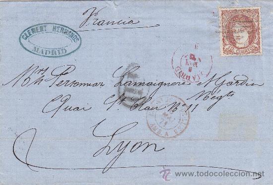 12 CUARTOS 1870 EN CARTA (ENVUELTA) COMERCIAL (CLEMENT HERMANOS) CIRCULADA 1871 A FRANCIA. LLEGADA. (Sellos - Historia Postal - Sello Español - Sobres Circulados)