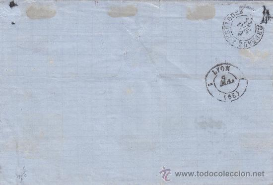 Sellos: 12 CUARTOS 1870 EN CARTA (ENVUELTA) COMERCIAL (CLEMENT HERMANOS) CIRCULADA 1871 A FRANCIA. LLEGADA. - Foto 2 - 22799272