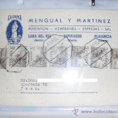 Sellos: POSTAL COMERCIAL DE MENGUAL Y MARTINEZ. PIMENTON Y AZAFRANES LA DAMA. AMBULANTES.. Lote 13804900
