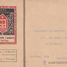 Sellos: VARIEDAD DENTADO DESPLAZADO ALFONSO XIII VAQUER TARJETA COMERCIAL 1930 TARREGA (LERIDA) A BARCELONA.. Lote 25914796