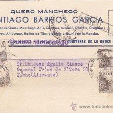 Sellos: EL CID TARJETA 1939 QUESO MANCHEGO SANTIAGO BARRIOS GARCIA CENSURADA QUINTANAR DE LA ORDEN (TOLEDO).. Lote 25935854