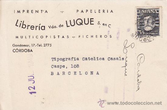 TARJETA COMERCIAL (LIBRERIA VDA. DE LUQUE) CIRCULADA 1949 DE CORDOBA A BARCELONA. LLEGADA DORSO. MPM (Sellos - Historia Postal - Sello Español - Sobres Circulados)