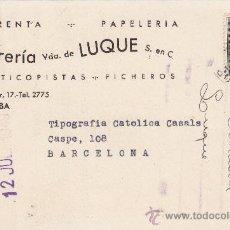 Sellos: TARJETA COMERCIAL (LIBRERIA VDA. DE LUQUE) CIRCULADA 1949 DE CORDOBA A BARCELONA. LLEGADA DORSO. MPM. Lote 14021597