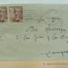 Sellos: + JACA, HUESCA, SOBRE MATASELLADO CON MATASELLOS PUBICIDAD DE TURISMO DE JACA, AÑO 1947. Lote 14037882
