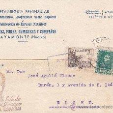 Sellos: SALUDO A FRANCO TARJETA PATRIOTICA 1939 AYAMONTE (HUELVA)-ELCHE (ALICANTE). CENSURA. EL CID.. Lote 26004872