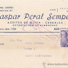 Sellos: TARJETA COMERCIAL (GASPAR PERAL SEMPERE) 1939 DE ALICANTE A ELCHE. RODILLO PUBLICITARIO LLEGADA. CM.. Lote 26029707