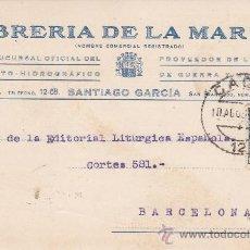 Sellos: REPUBLICA ESPAÑOLA: III CENTENARIO LOPE DE VEGA EN TARJETA COMERCIAL 1935 CADIZ A BARCELONA. LLEGADA. Lote 26029715