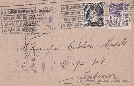 EL CID Y HERNAN CORTES EN TARJETA COMERCIAL (JOSE MARIA BOLIBAR) 1949 BARCELONA RODILLO PUBLICITARIO (Sellos - Historia Postal - Sello Español - Sobres Circulados)