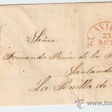 Sellos: ENVUELTA DE CARTA AVILA SANTANDER 1847. Lote 27567508