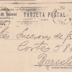 Sellos: REPUBLICA ESPAÑOLA: TARJETA COMERCIAL (GABRIEL MOLINA SUCESORES) 1935 DE MADRID A BARCELONA. RODILLO. Lote 26031775