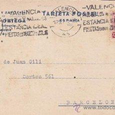 Sellos: REPUBLICA ESPAÑOLA: TARJETA COMERCIAL (MARIA ORTEGA) 1937 VALENCIA-BARCELONA. RODILLO PUBLICITARIO.. Lote 26029701