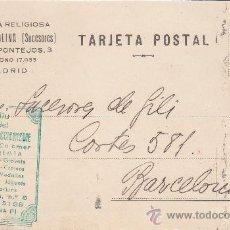 Sellos: TARJETA COMERCIAL (GABRIEL MOLINA SUCESORES) CIRCULADA 1929 DE MADRID A BARCELONA. LLEGADA AL DORSO.. Lote 14572591