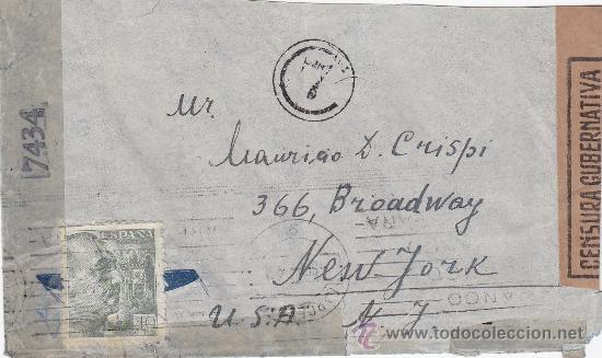 DOBLE BANDA DE CENSURA EN CARTA CIRCULADA 1944 DE BARCELONA A NUEVA YORK. MARCA Y RODILLO PATRIOTICO (Sellos - Historia Postal - Sello Español - Sobres Circulados)