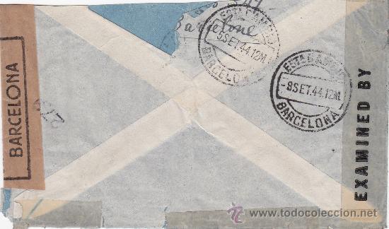 Sellos: DOBLE BANDA DE CENSURA EN CARTA CIRCULADA 1944 DE BARCELONA A NUEVA YORK. MARCA Y RODILLO PATRIOTICO - Foto 2 - 14711370