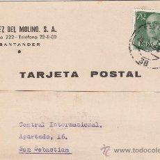Sellos: GENERAL FRANCO EN TARJETA COMERCIAL (E PEREZ DEL MOLINO SA) CIRCULADA SANTANDER-SAN SEBASTIAN. MPM.. Lote 14838057