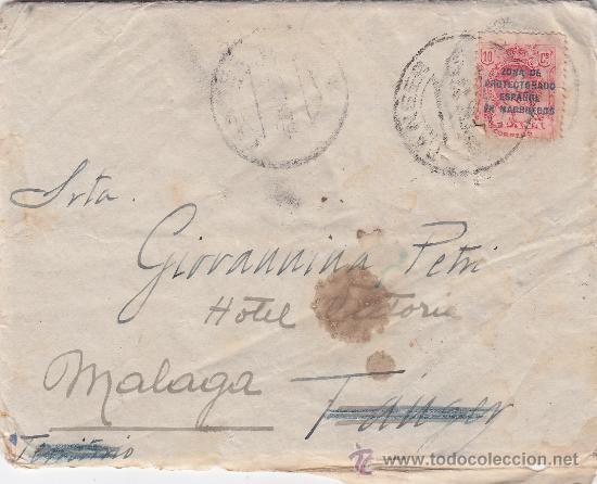 MARRUECOS ESPAÑOL (EDIFIL 60) EN CARTA CIRCULADA 1922 DE TANGER A MALAGA. LLEGADA Y CARTA MANUSCRITA (Sellos - Historia Postal - Sello Español - Sobres Circulados)