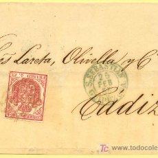 Sellos: SAN SEBASTIAN A CADIZ, FRONTAL CON SELLO 33 MATASELLO PARRILLA NEGRA Y FECHADOR TIPO I . Lote 15340041