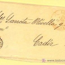 Sellos: ALCOY A CADIZ, FRONTAL CON SELLO 17 MATASELLO PARRILLA NEGRA Y FECHADOR TIPO BAEZA. Lote 15340196