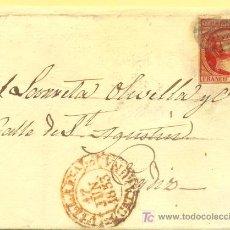 Sellos: VILLAFRANCA A CADIZ, FRONTAL CON SELLO 17 MATASELLO PARRILLA NEGRA Y FECHADOR BAEZA. Lote 15340316