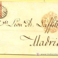 Sellos: BILBAO A MADRID, CARTA CON SELLO 17 MATASELLO PARRILLA Y FECHADOR BAEZA ROJO. Lote 15353400
