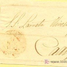 Sellos: DIRIGIDA A CADIZ, FRONTAL CON SELLO 12 P MATASELLO PARRILLA Y FECHADOR BAEZA ROJO. Lote 15353725