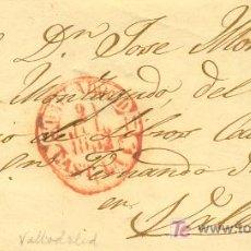 Sellos: VALLADOLID A VALENCIA, CARTA CON SELLO 12 MATASELLO PARRILLA Y FECHADOR BAEZA ROJO. Lote 15353865
