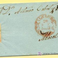 Sellos: ALMAGRO A ALBACETE, CARTA CON SELLO 12 MATASELLO PARRILLA Y FECHADOR BAEZA ROJO. Lote 15353872