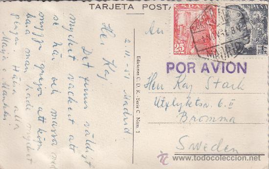GENERAL FRANCO DOS EMISIONES EN TARJETA ANDALUCIA CIRCULADA 1951 MADRID-SUECIA. MARCA POR AVION. MPM (Sellos - Historia Postal - Sello Español - Sobres Circulados)