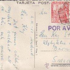 Sellos: GENERAL FRANCO DOS EMISIONES EN TARJETA ANDALUCIA CIRCULADA 1951 MADRID-SUECIA. MARCA POR AVION. MPM. Lote 15614041