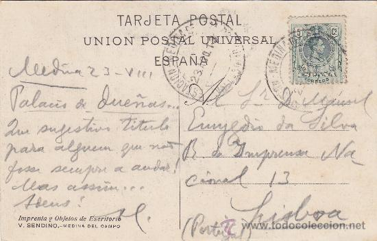 ESTACION MEDINA DEL CAMPO VALLADOLID: RARO MATASELLOS EN TARJETA CIRCULADA 1913 A LISBOA (PORTUGAL) (Sellos - Historia Postal - Sello Español - Sobres Circulados)