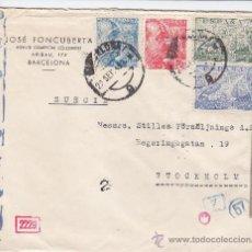 Sellos: 45 CTS FRANCO SANCHEZ TODA Y DE LA CIERVA: CARTA 1943 BARCELONA - SUECIA CENSURAS ALEMANA Y ESPAÑOLA. Lote 27178662