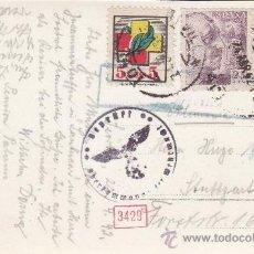 Sellos: FRENTE HOSPITALES EN TARJETA CIRCULADA 1942 DE SEVILLA A ALEMANIA. CENSURA. MARCAS ALEMANAS. RARA.. Lote 27200179