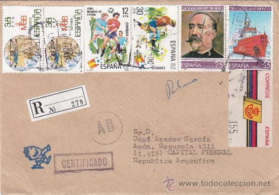 FRANQUEO MIXTO ETIQUETA Y SELLOS CARTA CERTIFICADA DE VIGO A ARGENTINA. PEGATINA MUNFI AL DORSO MPM (Sellos - Historia Postal - Sello Español - Sobres Circulados)