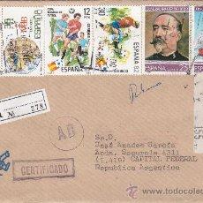 Sellos: FRANQUEO MIXTO ETIQUETA Y SELLOS CARTA CERTIFICADA DE VIGO A ARGENTINA. PEGATINA MUNFI AL DORSO MPM. Lote 15961308