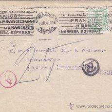 Sellos: GENERAL FRANCO 15 CTS. CON RARA PERFORACION (ELZABURU) EN CARTA COMERCIAL 1941 MADRID - PRAGA. MARCA. Lote 23250375