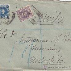 Sellos: ALFONSO XIII CADETE 15 Y 25 CTS. EN CARTA CERTIFICADA 1903 MADRID A PIEDRAHITA. TRANSITO Y LLEGADA.. Lote 23741722