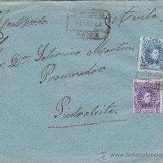 Sellos: ALFONSO XIII CADETE 25 Y 15 CTS. (VARIEDAD DENTADO HORIZONTAL DESPLAZADO) EN CARTA CERTIFICADA 1908.. Lote 23520517